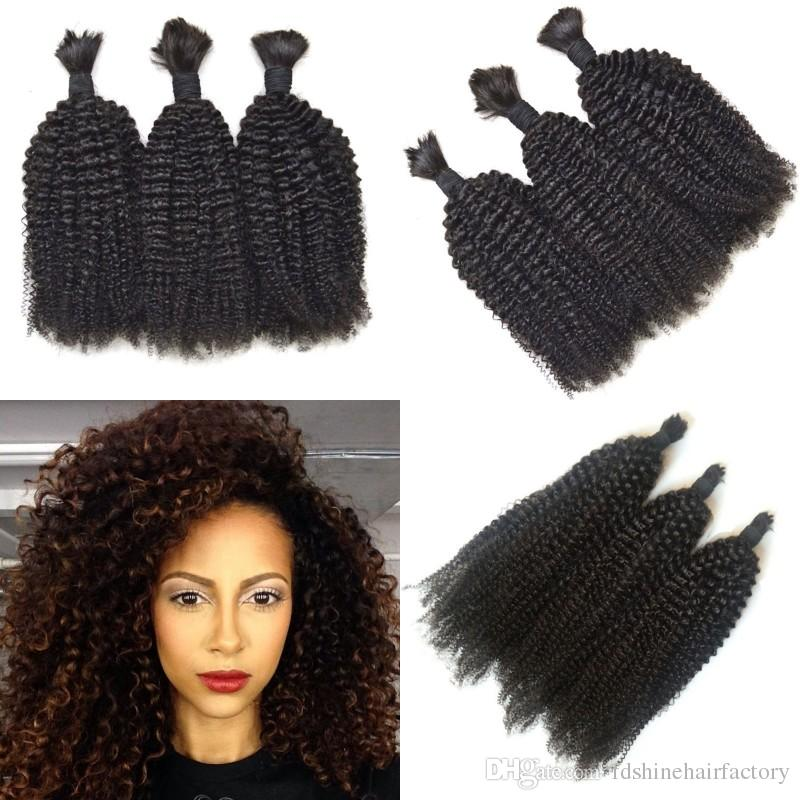 Kinky Curly Indian Human Hair Bulk For Braiding 3 Bundles Silky Smooth Hair Natural Color No Tangle FDSHINE