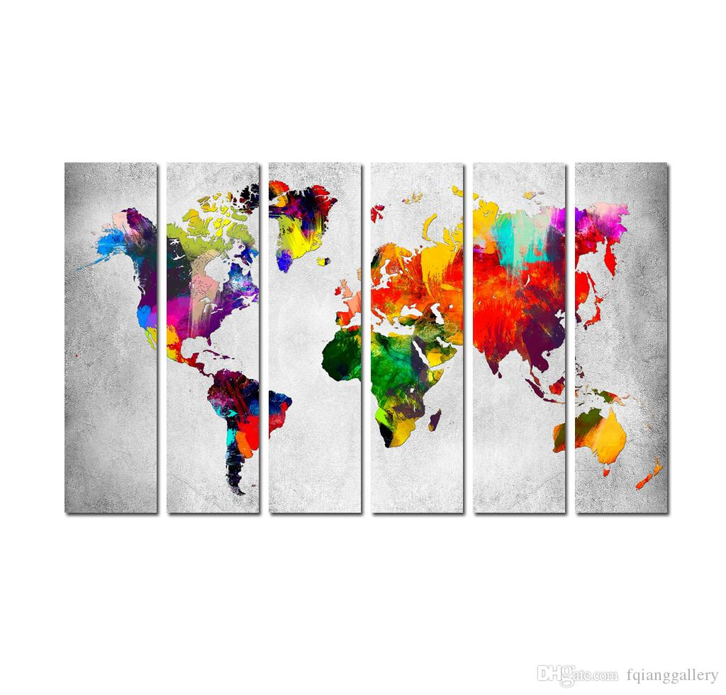 2019 large 6 panel set contemporary modern canvas art water color world map poster printed on canvas home wall living room decoration from fqianggallery