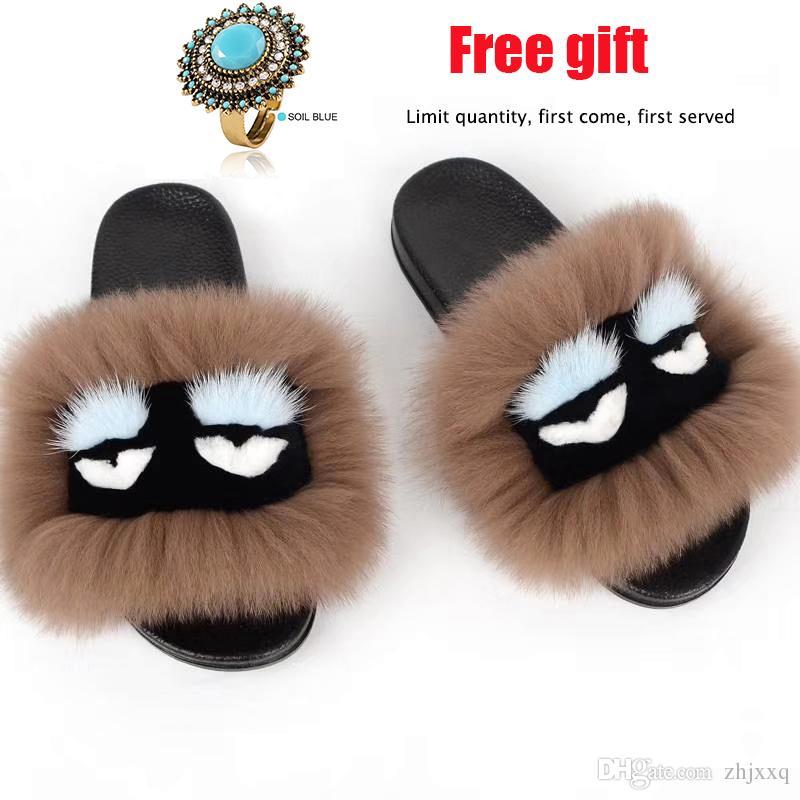 502fc0536345 Women Fur Slippers Summer Women Fur Slippers Monster Slides Fluffy Real Fox Fur  Slipper Non Slip Indoor Flip Flops Ladies Lovely Funny Shoes High Heel  Shoes ...
