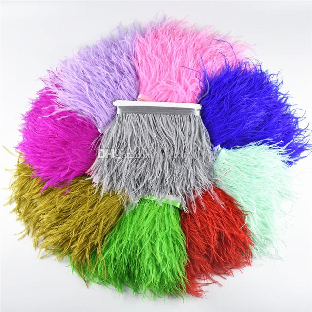 Yellow Ostrich Feather Fringe Ribbon Trim Price for 10 meter DIY Craft