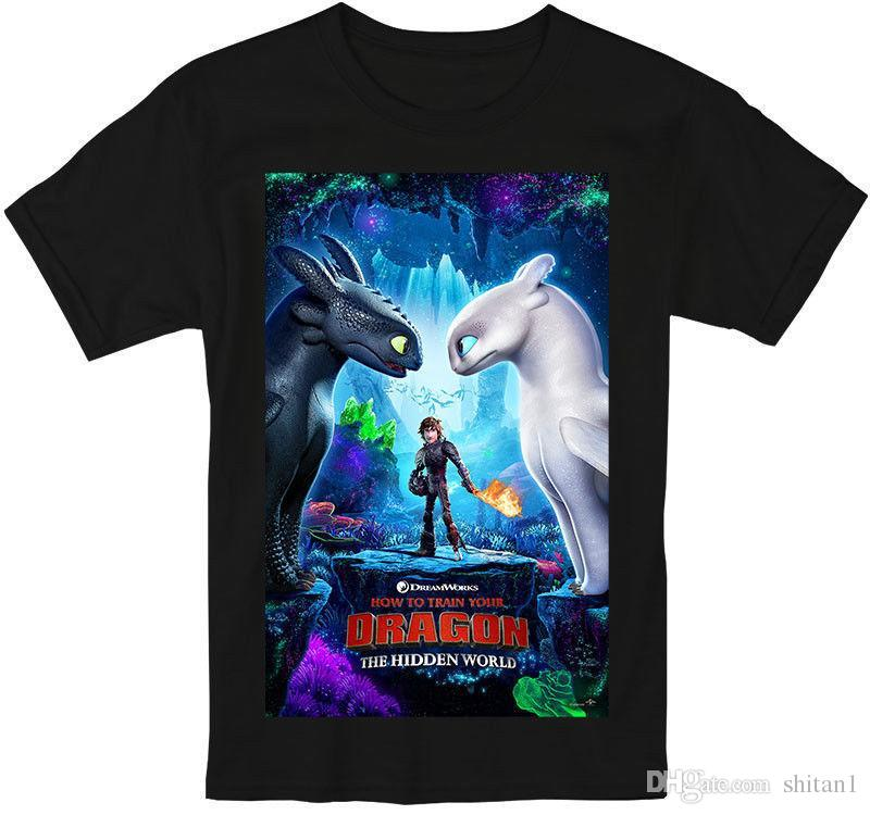a9dcffc98 How To Train Your Dragon The Hidden World 2019 Men s T-shirt Size S-3XL T  Shirts Man Clothing Free Shipping top tee 100% Cotton Print