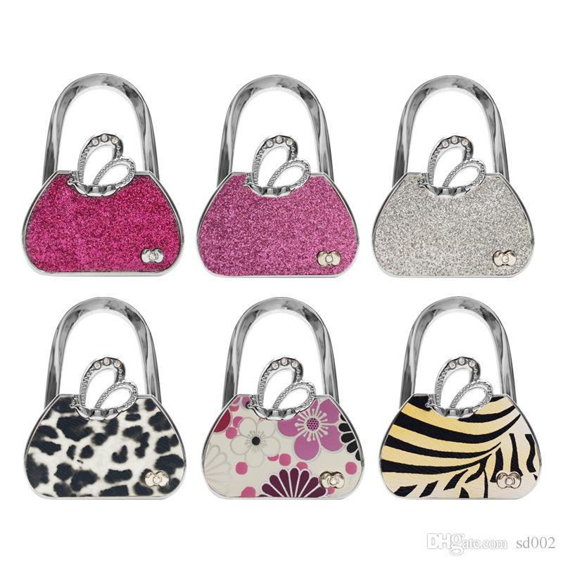 Handbag Hook Bag Holder Angel Wings Leopard Print Butterfly Flower Zebra Stripe Portable Foldable Purse Hooks Hanger Holders 8yx bb