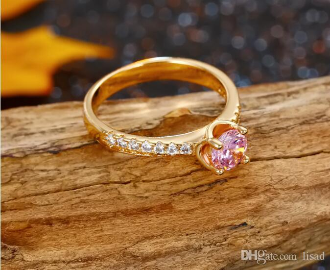 18K Gold Pink Crystal Diamond Sweety Female's Ring,Elegant Solitaire Ring for Bridemaids,Friendship nice rings jewelry for good sisters