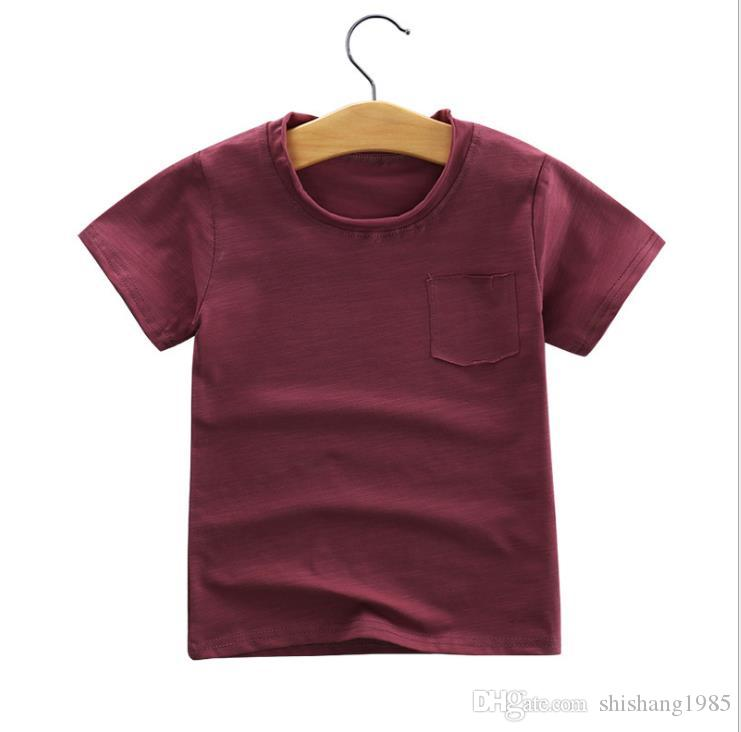 Großhandel - Sommer Kinderunterwäsche Kinderkleidung Kurzarm-Bambus Baumwolle Baumwolle T-Shirt Jungen und Mädchen Single-Shirt