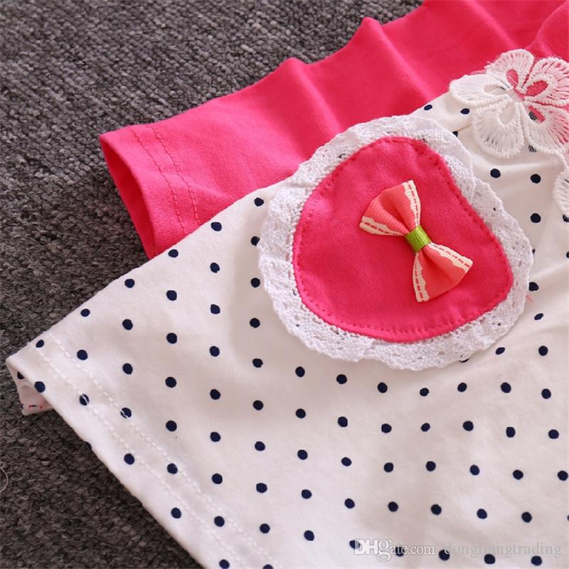 Pink Girl Dot Dress Girls Ruffle Long Sleeve Dresses with Bow Tutu Skirt Fashion 2018 Hot Spring Kids Clothing 3022