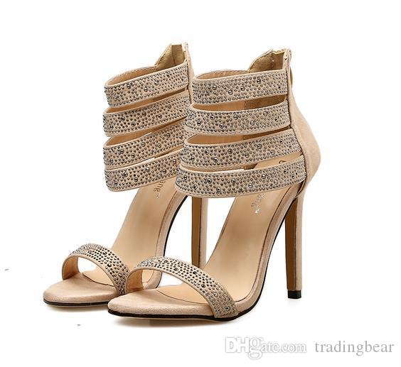 27e04f625b5 Glitter Beige Rhinestone Strappy High Heel Sandals Luxury Women Designer  Summer Shoes Beige Size 35 To 40 Mens Dress Shoes Prom Shoes From  Tradingbear