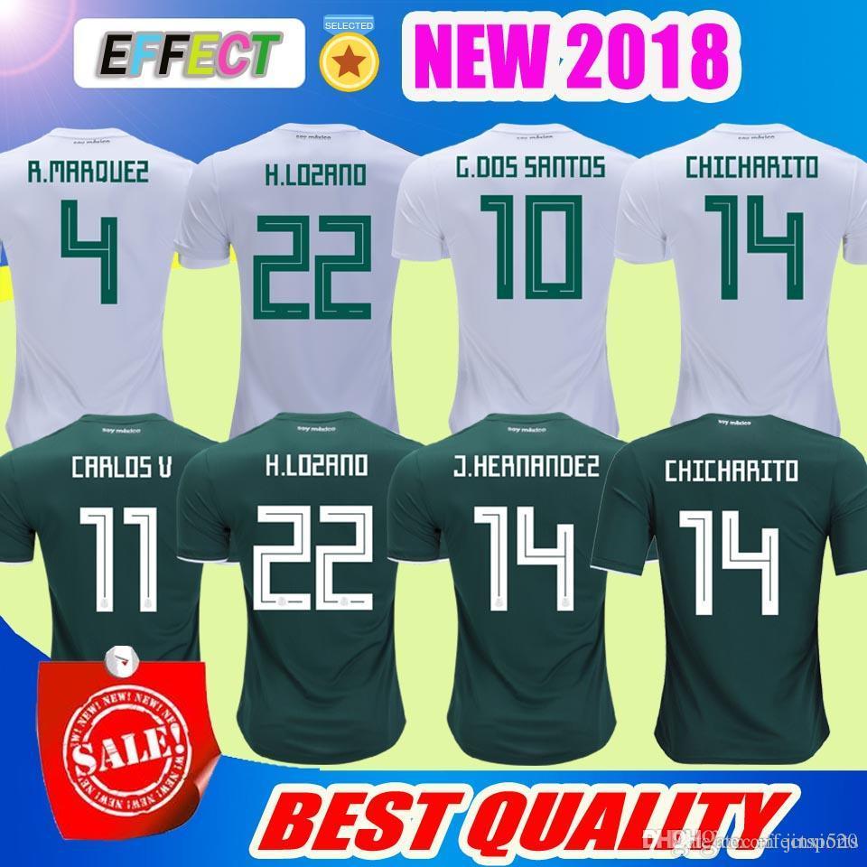 99d8ccb6069 2018 .New 2018 Mexico Soccer Jersey Home 17 18 Green Away White CHICHARITO  Camisetas De Futbol H.LOZANO G.DOS SANTOS A.GUARDADO Football Shirts From  ...