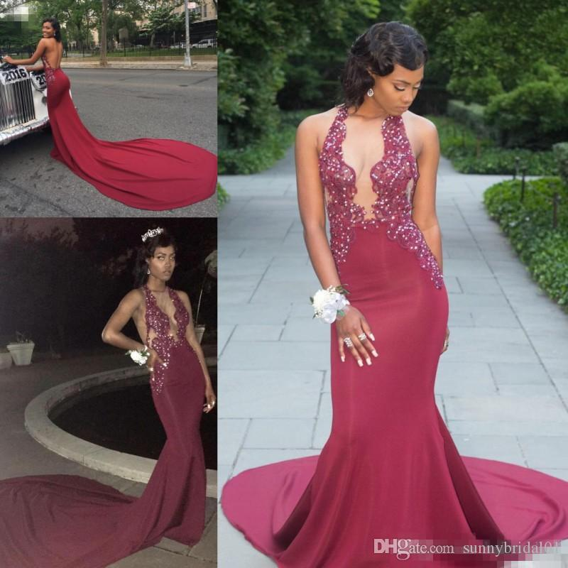 fd54a286b2c Sexy Plunging V Neck Hot Sell Burgundy Prom Dresses 2018 Mermaid Halter Neck  Appliques Beaded Black Girls 2K18 Evening Gowns Sweep Train Pregnant Prom  ...