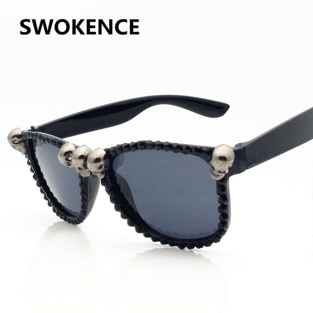 982de27b3eff SWOKENCE Skull Frame Cat Eye Sunglasses Men Women Cool Black Rhinestone Sun  Shades Halloween Party Ball Hip Hop UV400 CE SB59 Cycling Sunglasses  Running ...