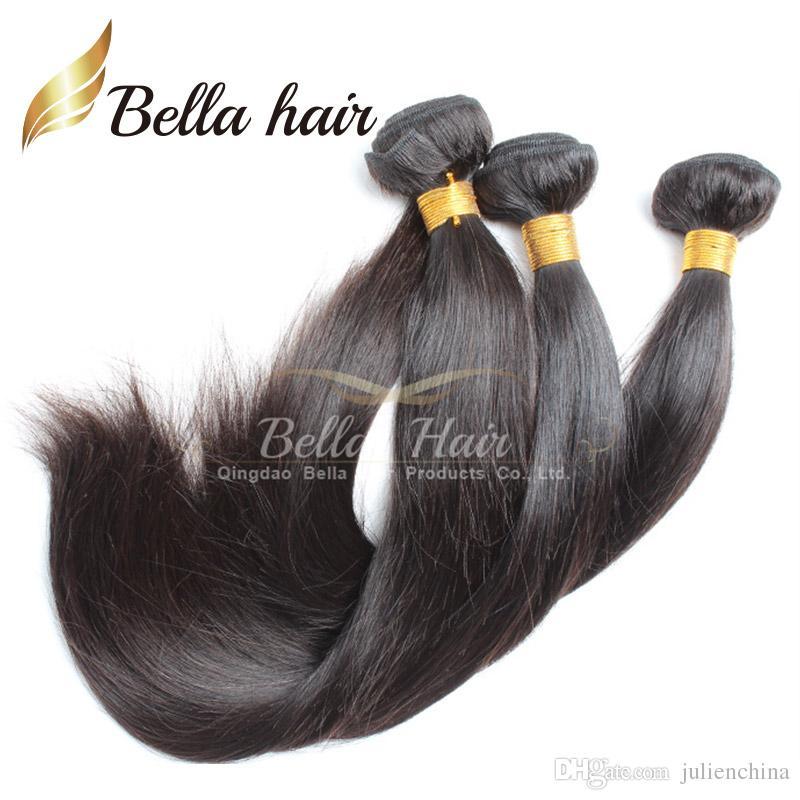 BellaHair®で人気のブラジル髪の伸縮ダブル緯ご自然色9Aストレートヘアバンドル2本/ロット混合長10~24インチ織り