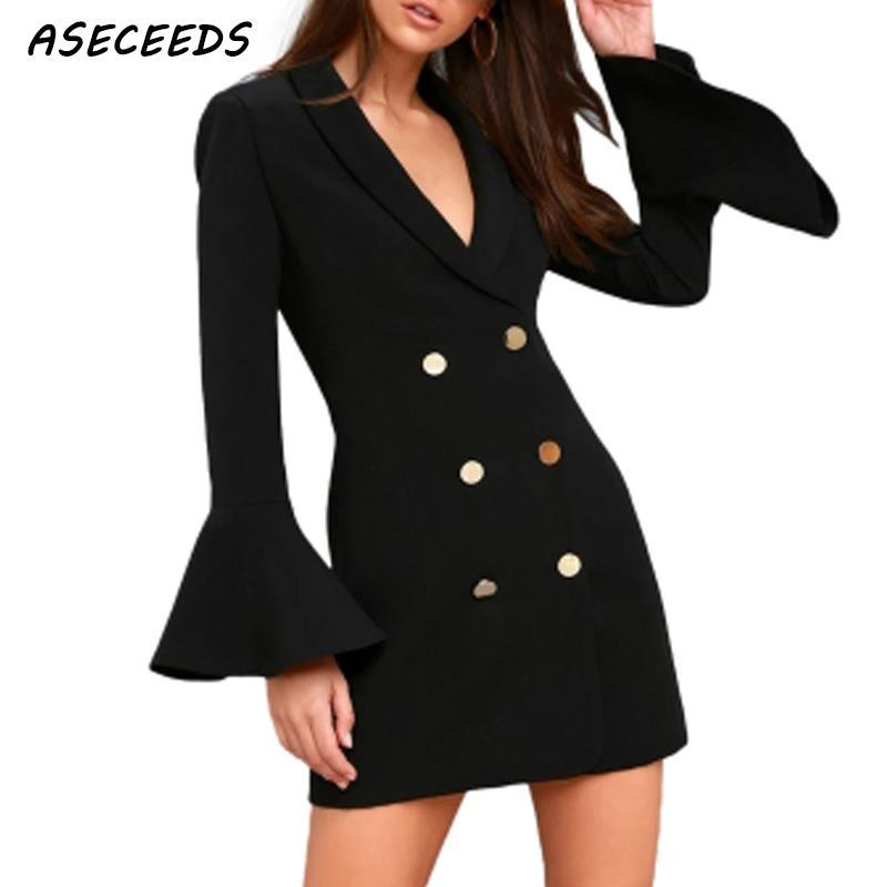 the latest 5f03e 850c3 Giacca lunga donna cappotto nero casaco feminino flare manica jaqueta  feminina casacas para mujer pulsante abiti bianchi 2018