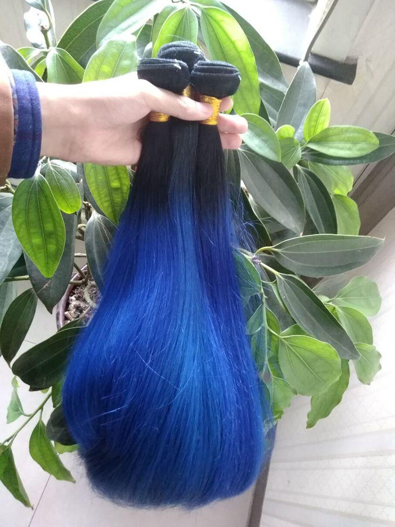 Silky Straight Ombre Hair Bundles Dark Roots 1B Blue Malaysian Virgin Human Hair Extensions Colored Two Tone Blue Ombre Weaves