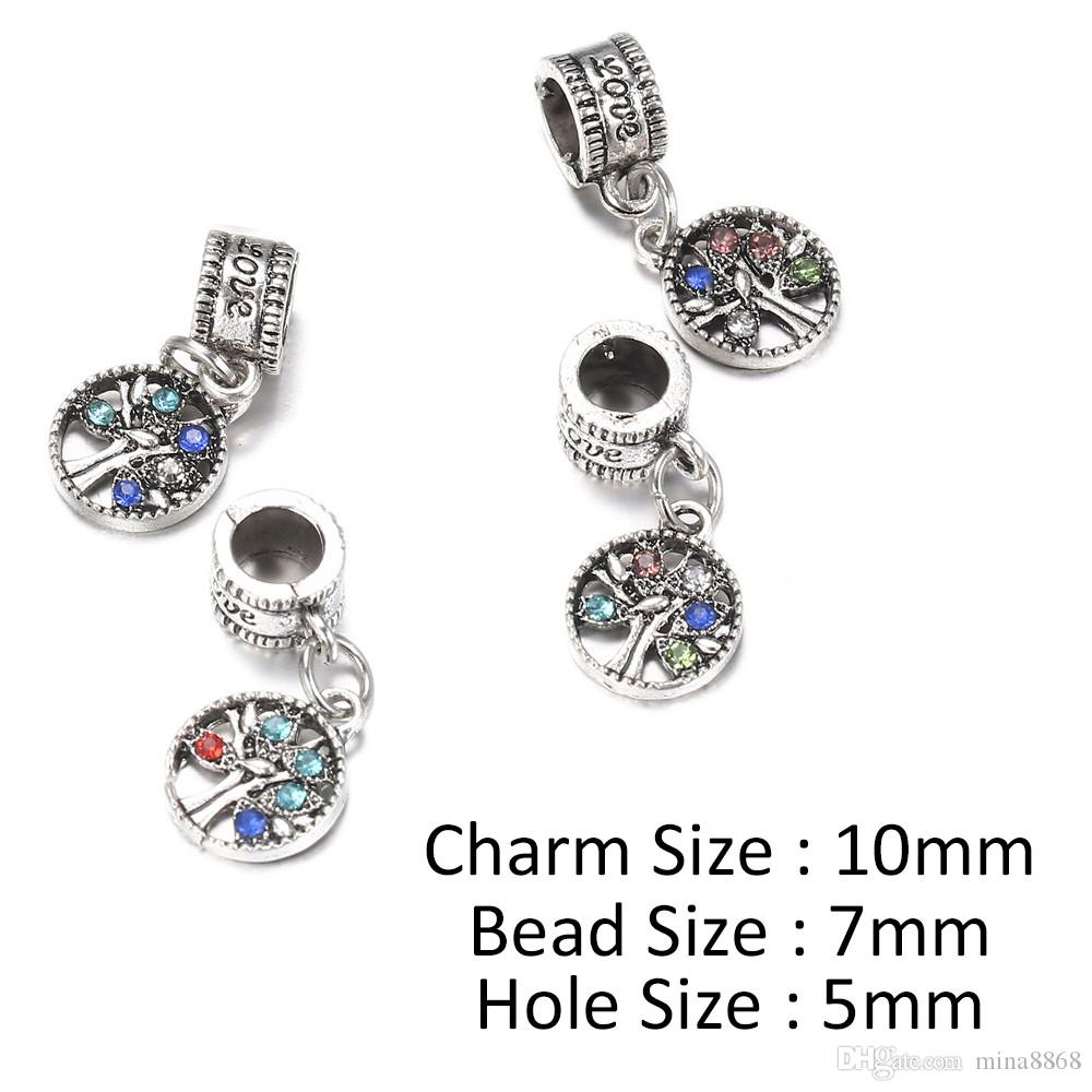 10mm Silver Alloy Beads Tree Shape Bead Crystal Pendant for DIY Big Hole Metal Charm Beads Fit For Bracelet making Parts