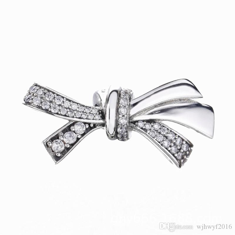 49e73b132 Mother's Day Gift Authentic 100% 925 Sterling Silver Brilliant Bow Charm,  Clear CZ Beads Fit Pandora Charms Bracelet Diy Jewelry Making
