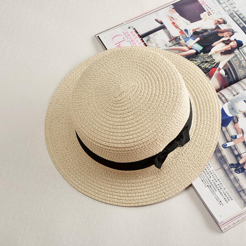Summer Women Solid Round Flat Hats Sun Block Ribbon Cap New Fashion Girl  Lady Bow Straw Boater Hat For Women Summer Beach Cap Fedoras Beanie Hats  From ... ab0d6afdba1d