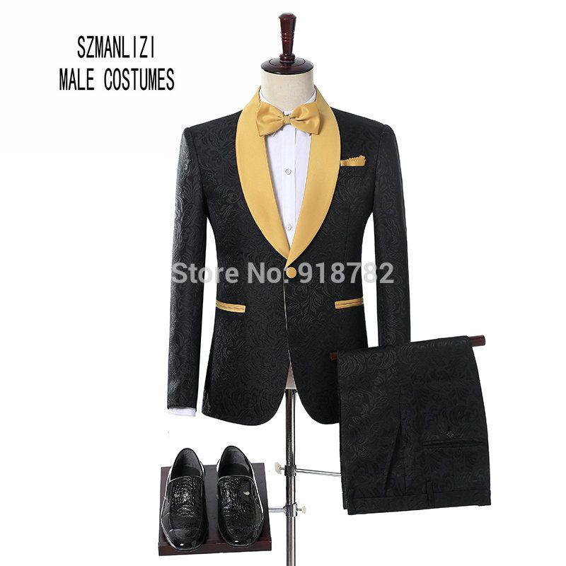 Acquista Nuovo Arrivo 2018 Uomini Vestito Di Marca Nero Ricamo Smoking Oro  Scialle 2 Pezzi Set Bruiloft Uomini Costume Homme Prom Vestito Da Sposa A   112.89 ... 777c9666439b