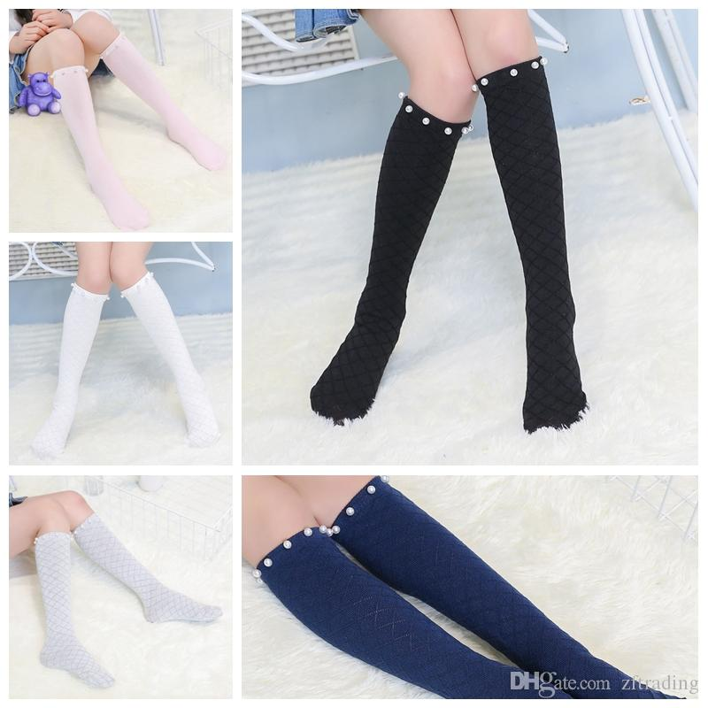 f61529fdc8d Girl Cotton Middle Tube Socks Grated Pearl Mesh Knee High Socks 2017 Hot  Sale Baby Children Solid Color Socks Age 3 12 Discount Socks Buy Stockings  Online ...