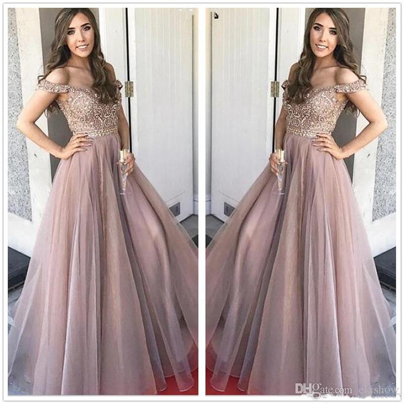 2018 Elegante Verano Fuera Del Hombro Organza Una Linea Vestidos De Fiesta Con Pedreria Rhinestones Piso Superior Longitud Fiesta Vestidos De Noche