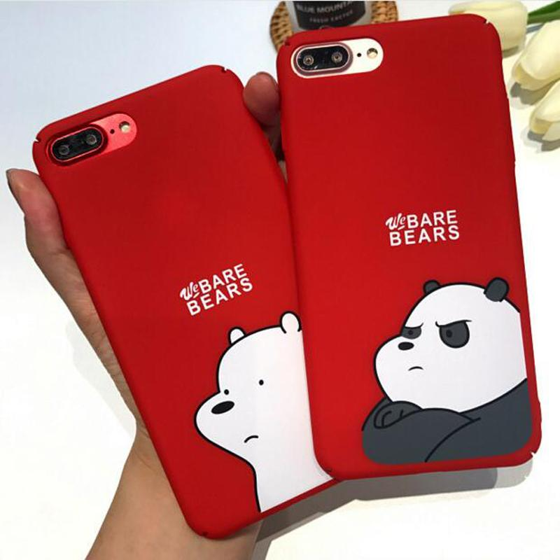 online retailer 58dee bd4f9 We Bare Bears Cute Cartoon Red Matte PC Hard Plastic Phone Case Cover  Fundas Coque For iphone 6 S 7 7Plus 6S 6Plus 8 8Plus X
