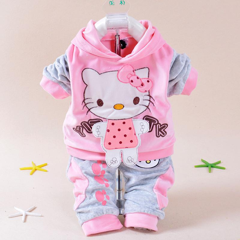 ec82e07af0ba2 Acheter Nouveau 2016 Automne Bébé Enfants Set Velours Hello Kitty Dessin  Animé T Shirt Hoodies Pantalon Twinset À Manches Longues Velour Enfants  Vêtements ...