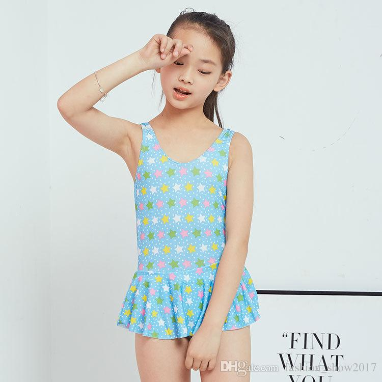 Summer Beautiful Girls One-piece Swimsuit Floral Printed Children Swimwear Bathing Beachwear Suit for Kids Swimming Suits