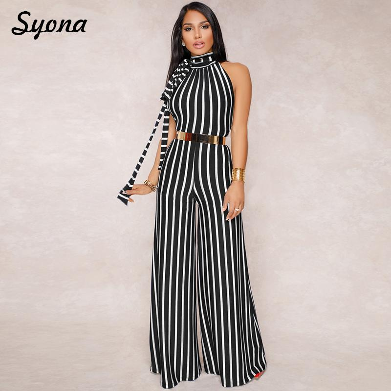 0385fbc4618c 2019 Multi Stripe JUMPSUIT Wide Leg Pants Maxi ROMPER For Women 2018  Elegant Overalls Female Backless Party Summer Spring Palazzo Jum From Stripe