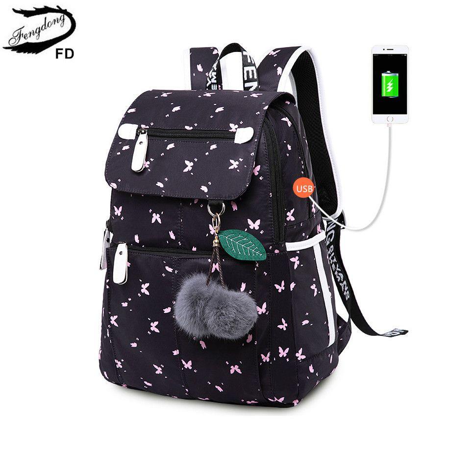 3e1e4c38372d FengDong Female Fashion School Backpack Usb School Bags For Girls Black Backpack  Plusch Ball Girl Schoolbag Butterfly Decoration Y18120303 Popular Boys ...