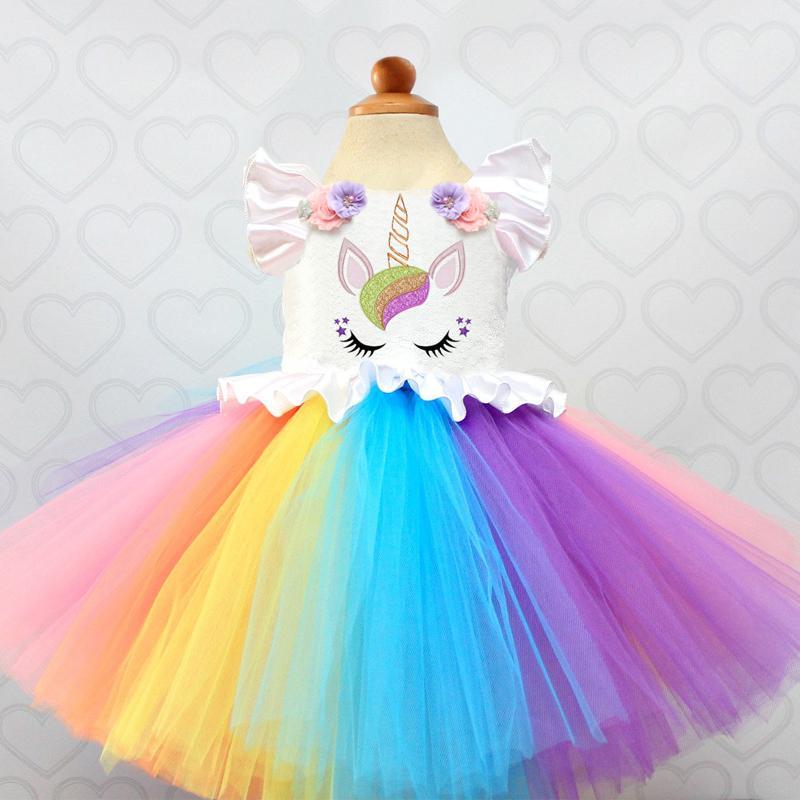108c15f28 Compre Vestido De Lujo Del Arco Iris Para Las Muchachas Del Partido Disfraz  De Unicornio Ropa De Verano Para Niños Vestidos De Bautizo Coloridos Para  Bebé ...
