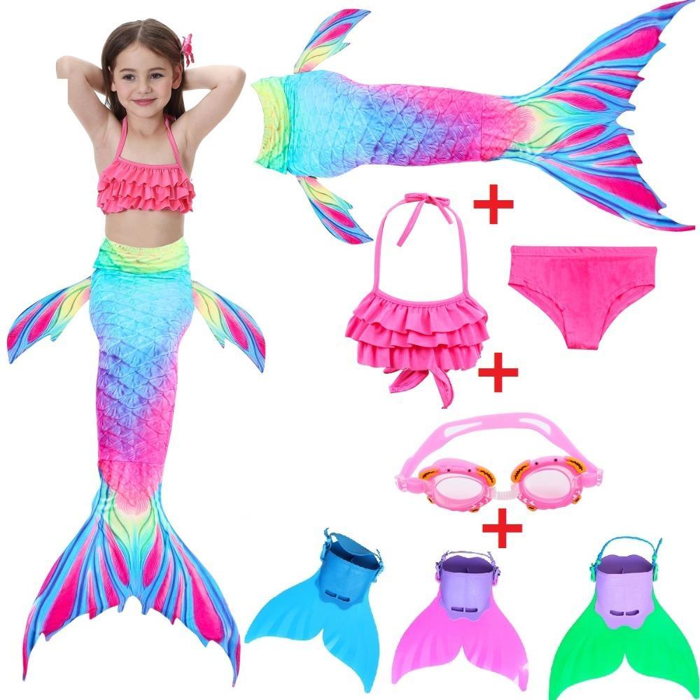 3cc888ad9 Compre Traje De Baño De Sirena Para Niños Bikini Para Niñas Cola De Sirena  Con Traje De Baño Con Aletas Ropa Para Niños Ropa De Cola Dividida Traje De  Baño ...