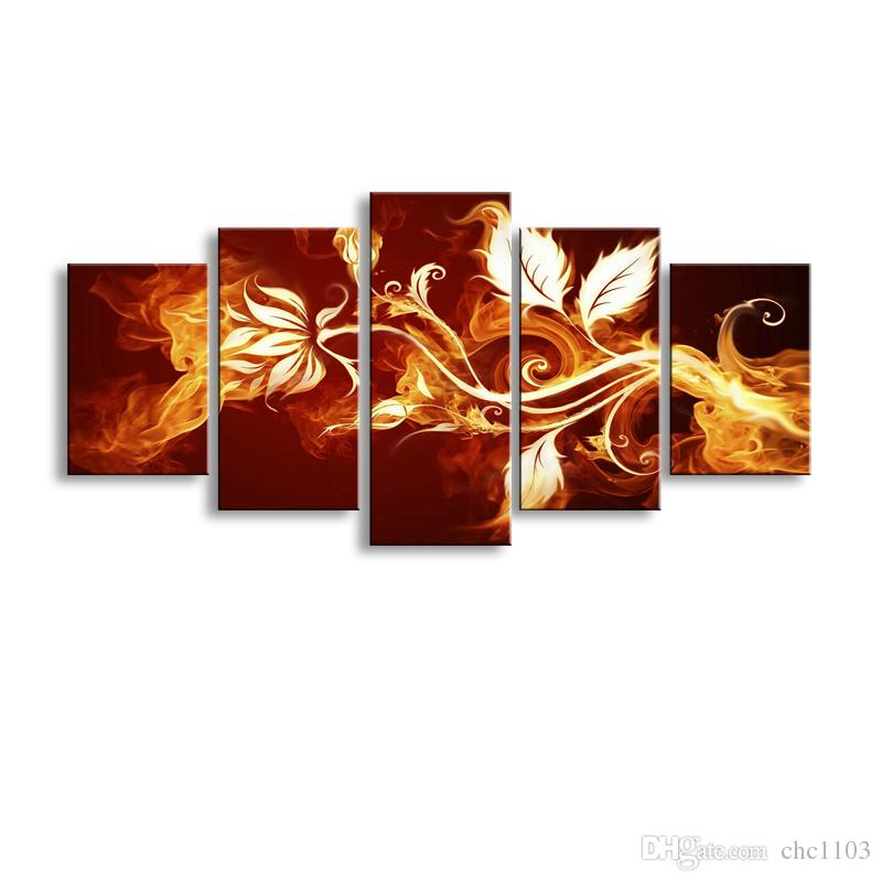 5 pieces high-definition print fire flowers canvas oil painting poster and wall art living room picture PF5-010