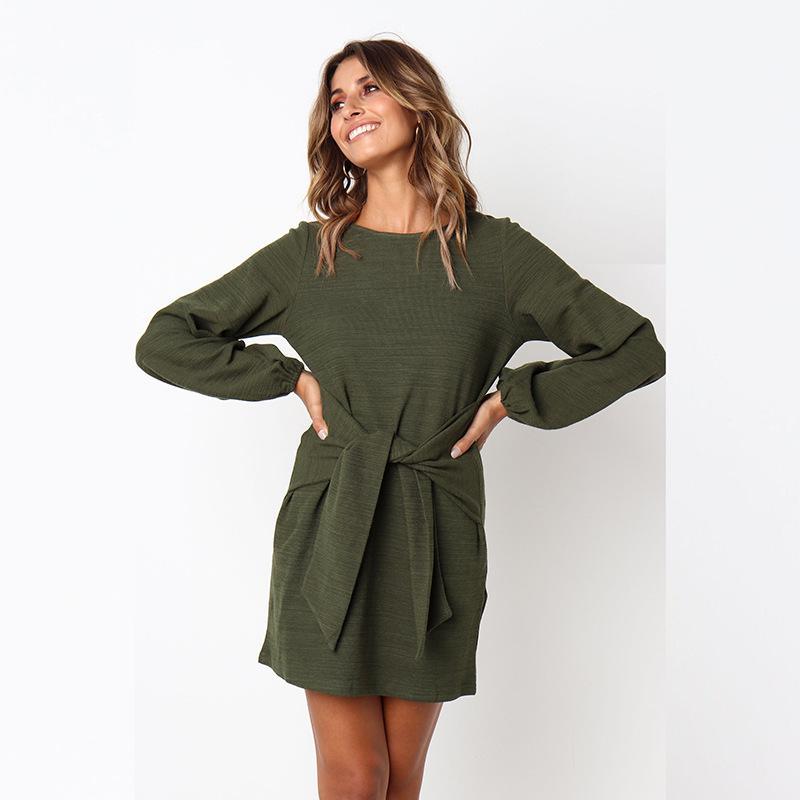 Großhandel 2018 Herbst Winter Kleid Mode Frauen Beiläufige Lose Elegantes  Kleid Langarm Oansatz Sexy Schwarz Weiß Kleid Mit Gürtel Vestidos D18110602  Von ... 904a195b13