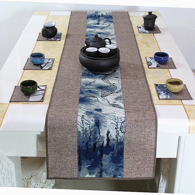 Latest Patchwork Chinese style Table Runner Rectangle Cotton Linen Modern  Simple Dining Room Table Cloth Protection Mats