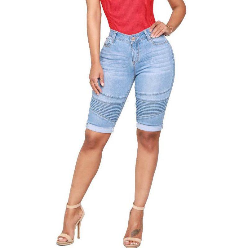 96e5711360 Compre Lo Nuevo Moda Mujer Jeans Pantalones Cortos Elásticos Hasta La  Rodilla Hembra Clásico Moto Skinny Jeans Casual Algodón Mediados De Cintura  Azul ...