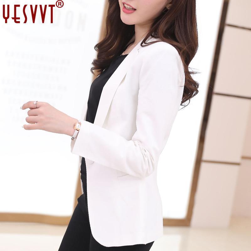 Women Blazers And Jackets Suit 2017 Spring Autumn Fashion Single Button Blaser Female White/Black/Blue Ladies Blazer Femme s-3xl
