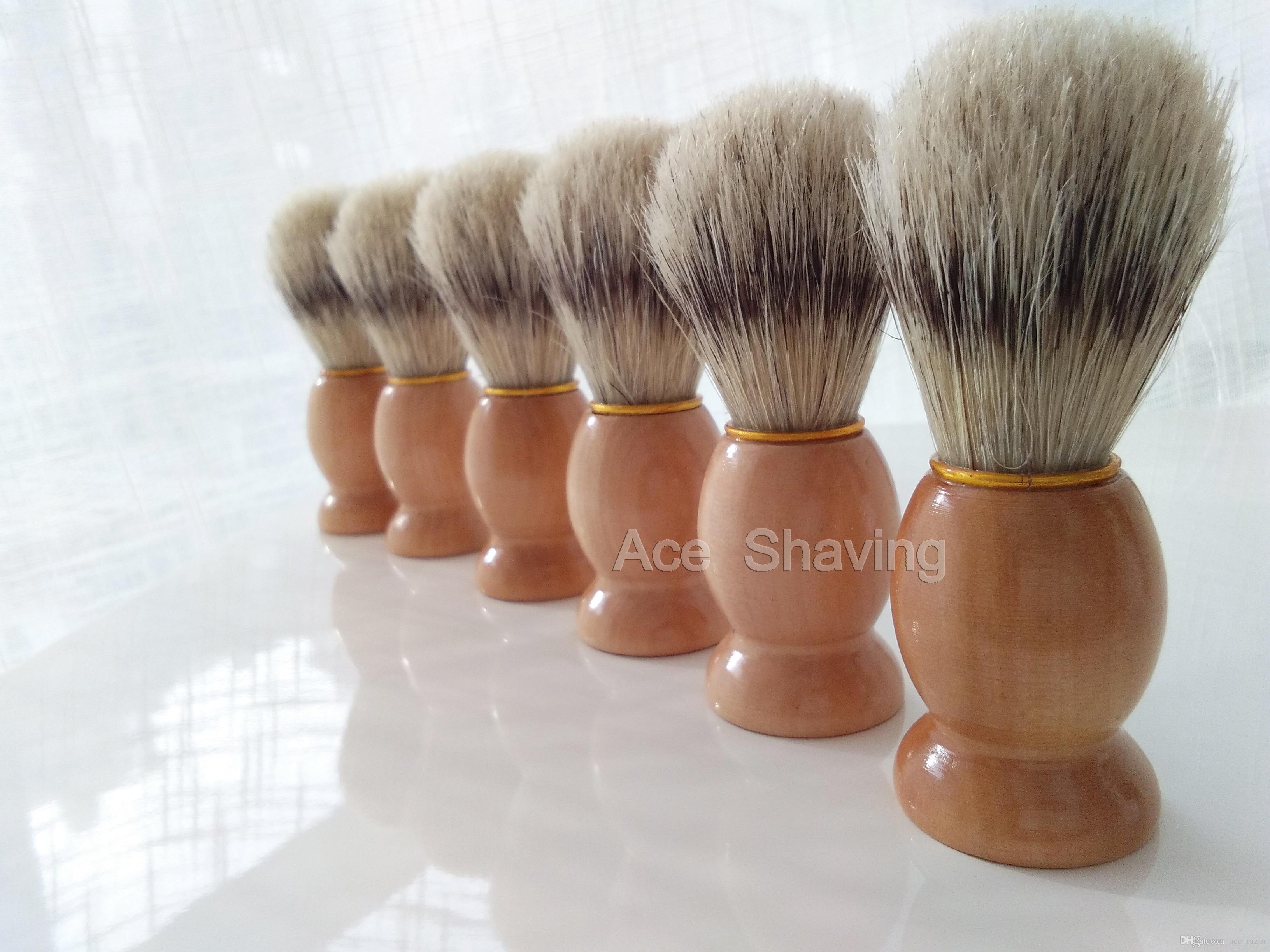 of Faux Badger Color Boar Bristle Hair Wooden Handle Shaving Brush Beard Shaver