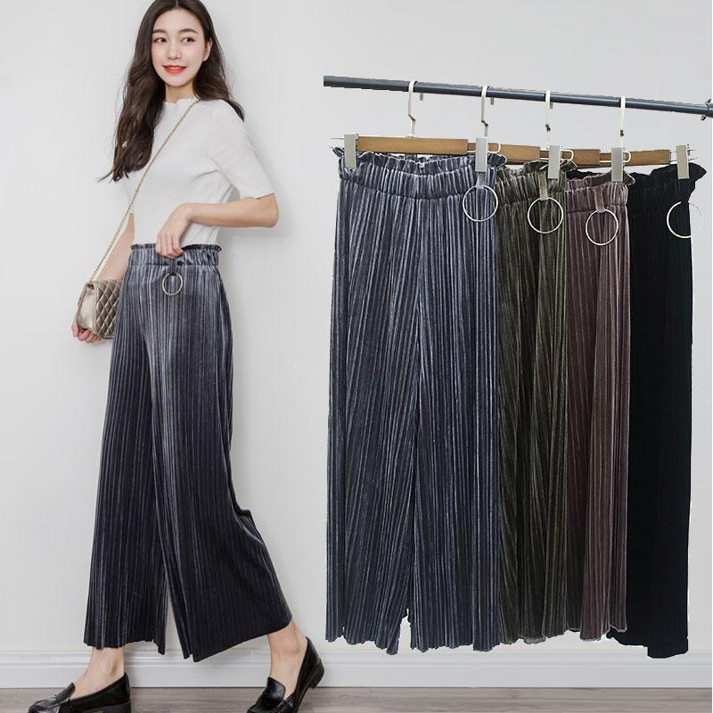 f906e8345b21a 2019 Fashion Metallic Loose Casual Velvet Wide Leg Pants Trousers For Women  2017 Large Size High Waist Pleated Pants Women Culottes From Maoyili