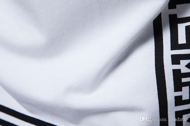 Patrón de diseño camisetas de los hombres de verano Homme algodón del cuello de equipo camisetas de manga corta de color blanco del negro Ropa
