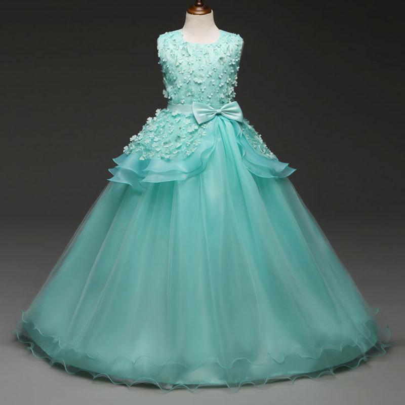 Compre El Nuevo 2018 Hermoso Vestido De Princesa Largo Para Niñas  Adolescentes Vestidos De Niñas Azul Rosa De Encaje Para Niños Vestidos De  Fiesta De Bodas ... ccf6b196e4bc