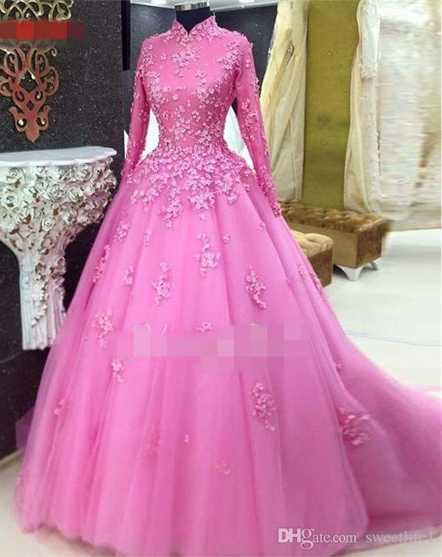 2019 Elegant High Neck Long Sleeve Prom Dresses With 3D Flora Appliques A Line Tulle Fuchsia Sweep Train Formal Evening Dresses Custom Made