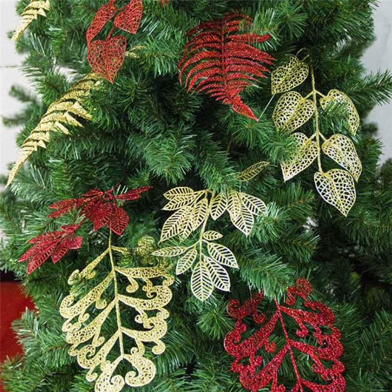 pack christmas ornaments decoration flower grass hollow discharge class simulation fake flower leaf christmas tree decor cheap christmas decorations online