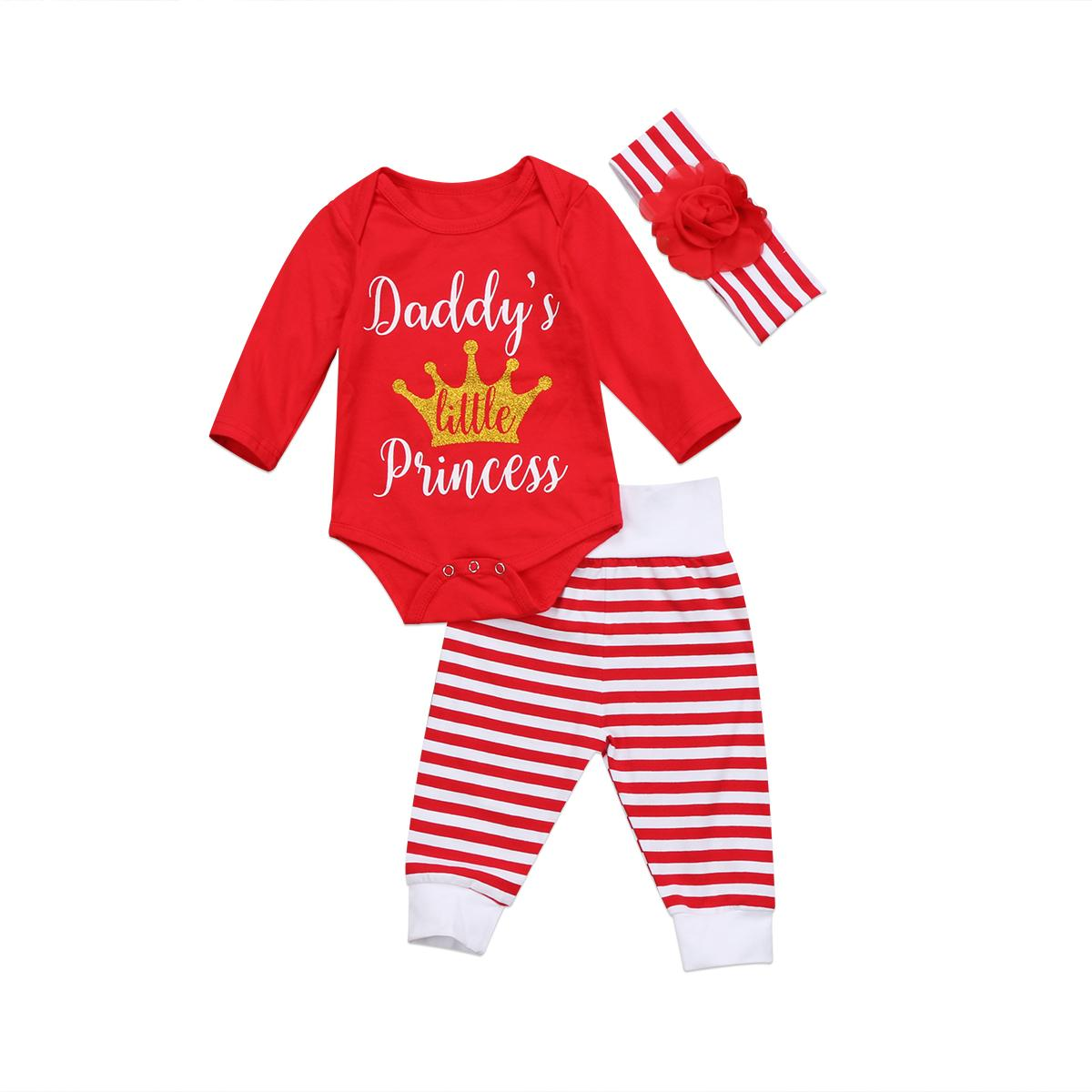 653cad3c7985 2019 3Ps Newborn Baby Daddy Girl Long Sleeve Romper Striped Leggings ...