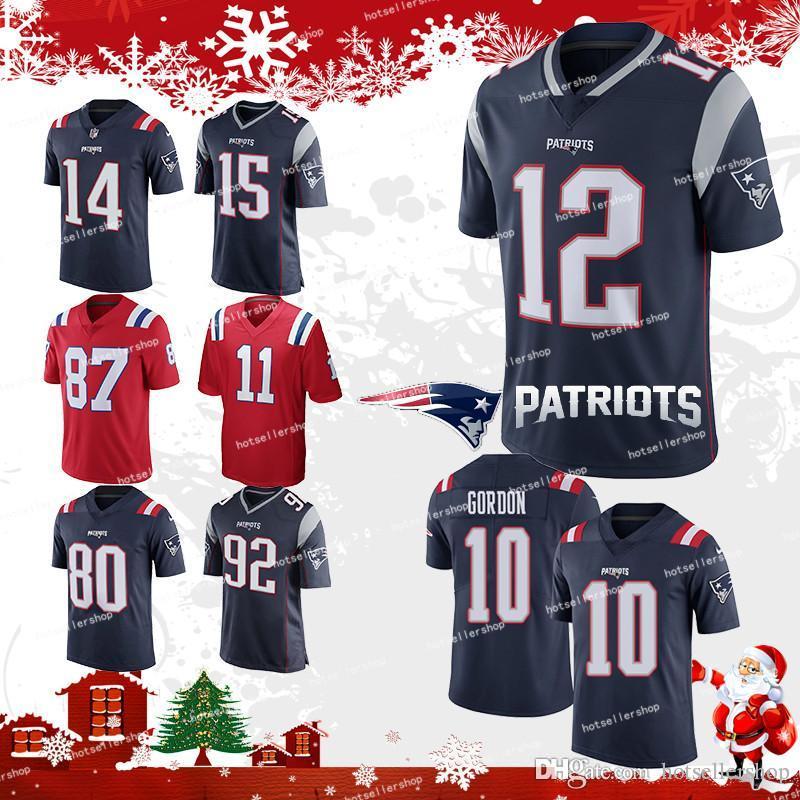 5517a4957 12 Tom Brady Patriot 10 Josh Gordon Jersey 87 Rob Gronkowski New 92 ...