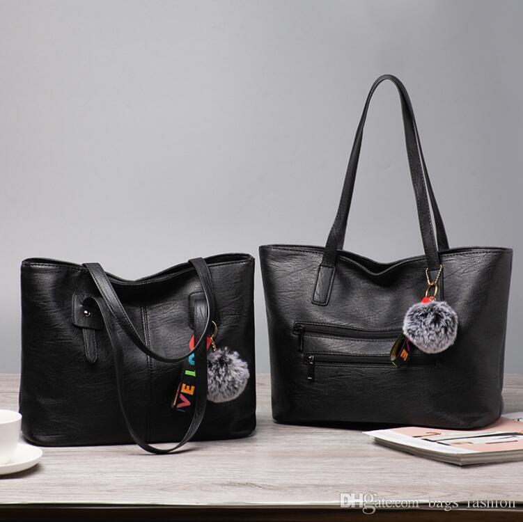598fe596d4f4 Women Shoulder Bags Brand Fashion Casual Vintage Black Bags Ball Fur Handbag  PU Leather Female Big Tote Bag Ladies Hand Bags Sac Leather Backpacks  Shoulder ...