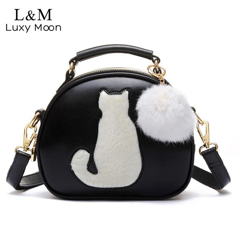973cc572334d Cute Cat Messenger Bags Girls Circle Black Leather Handbag Fashion Women  Fur Ball Crossbody Shoulder Bag Small Flap Bolso XA122H Fashion Handbags  Large ...