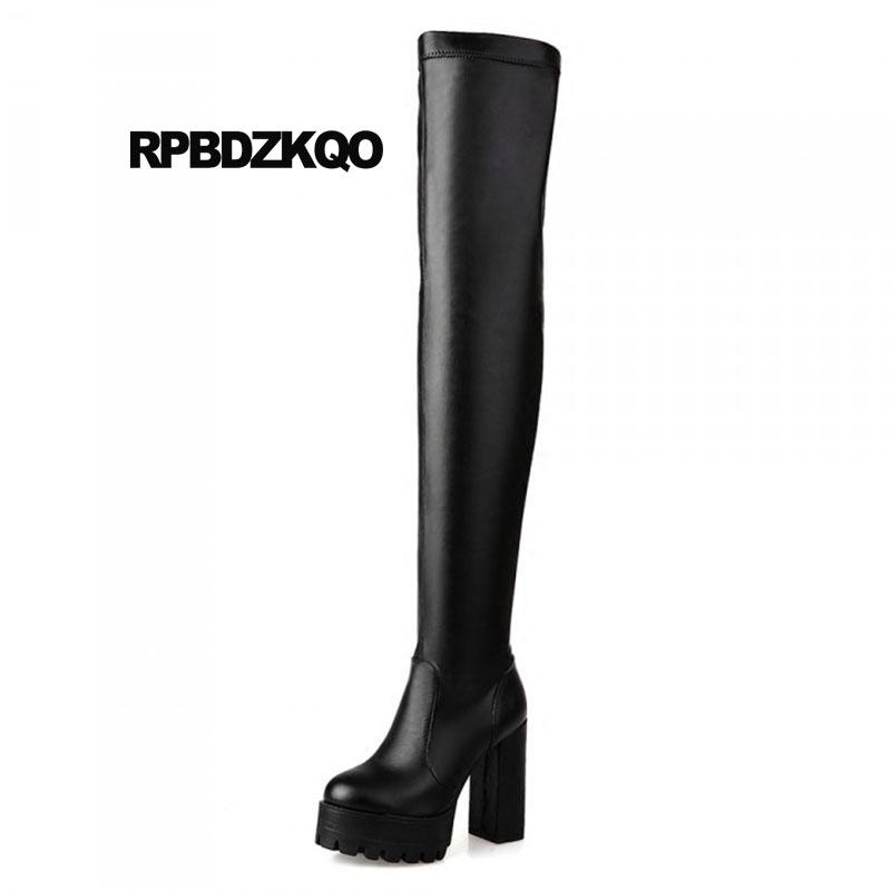 40f5323ba732 Shoes Black Waterproof Thigh High Boots For Plus Size Women Gothic Big 10  Over The Knee Cheap Sexy Heel Exotic Dancer Chunky Waterproof Boots Western  Boots ...