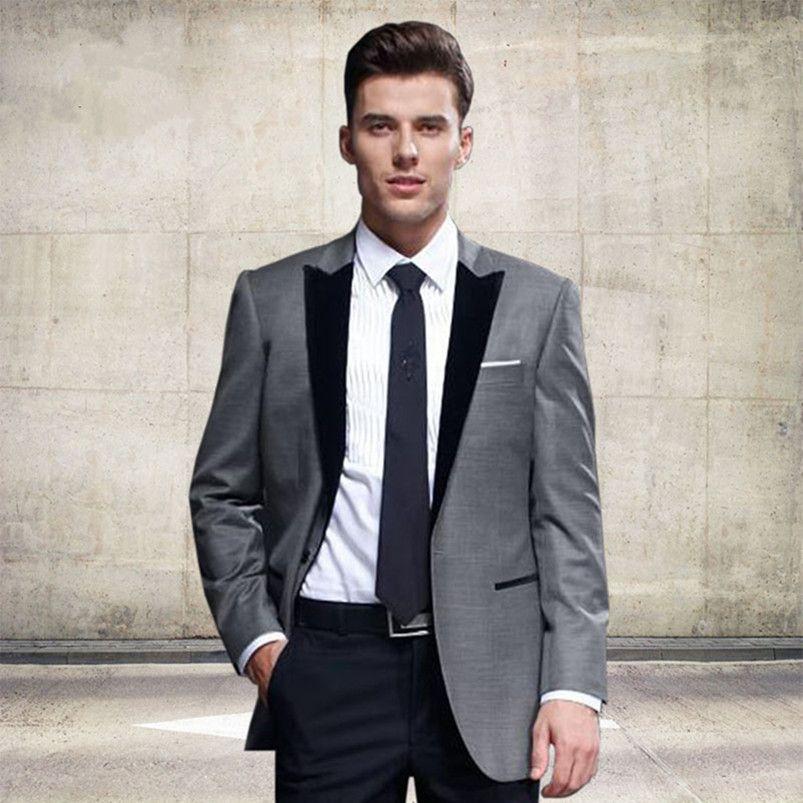 New Custom Classic Grey Mens Suits Groomsmen Tuxedos Notch Lapel Groom Tuxedos Best Man Wedding Suit Jacket+Pants