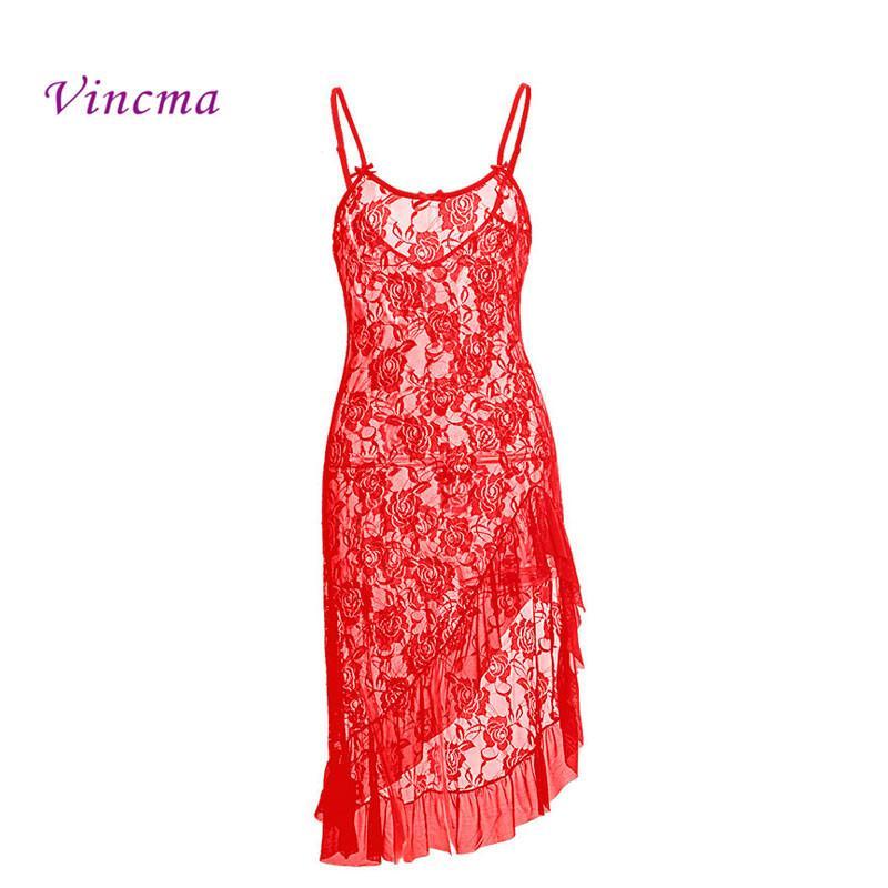 76d419c4bfbf Negro Rojo Blanco Vestido Largo S M L XL XXL 3XL 4XL 5XL 6XL Tallas grandes  Mujeres Lencería Sexy Disfraces de Noche Vestido Transparente D18110801