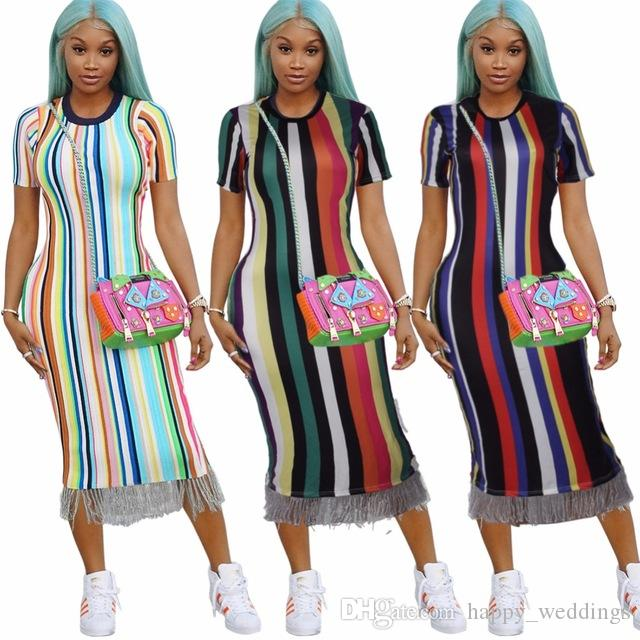 edf549b759 Female Vestidos Summer Style O Neck Striped Sexy Women Dress Short Sleeve  Bodycon Dress Teenage Party Dress Casual Evening Dress From Happy weddings