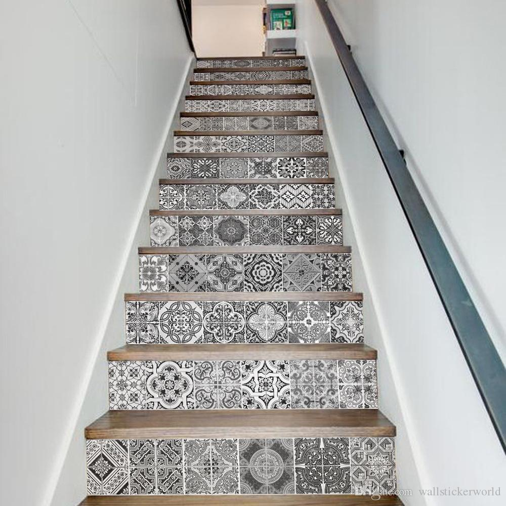 Creative DIY 3D Stairway Stickers Ceramic Tiles Pattern for House Stairs Decoration Large Staircase Wall Sticker