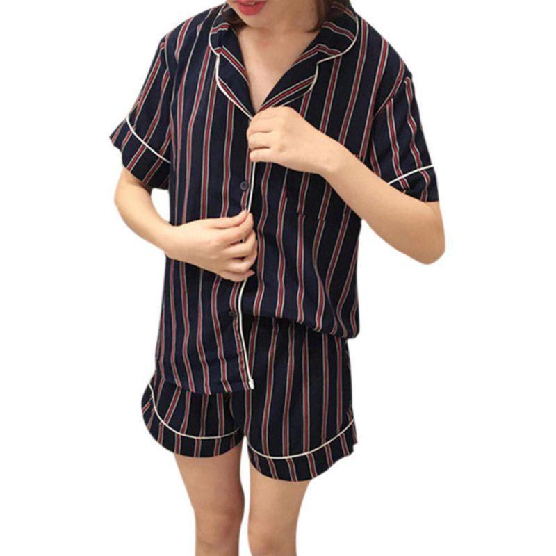 Summer Women Pajamas Sets Turn-down Collar Sleepwear Shirt+Shorts ... c53d63da1